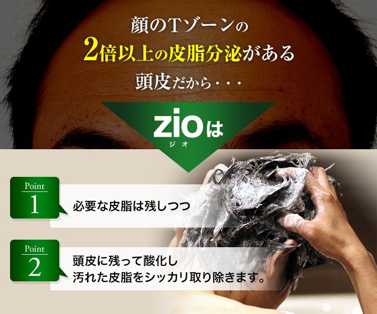 顔のTゾーンの2倍以上の皮脂分泌がある頭皮だから…zioは必要な皮脂は残しつつ頭皮に残って酸化し汚れた皮脂をシッカリ取り除きます。